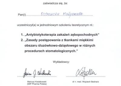 Stomatologia Dentica - Zaświadczenie