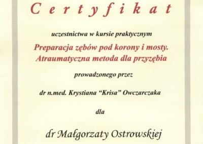 Stomatologia Dentica - Certyfikat - Małgorzata Ostrowska