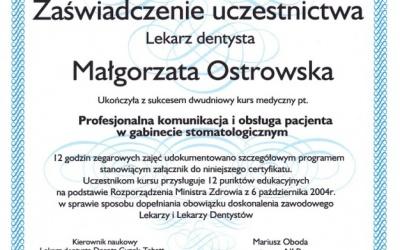 Stomatologia Dentica - Certyfikat - zaświadczenie Ostrowska M.