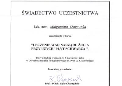 Stomatologia Dentica - Certyfikat uczestnictwa