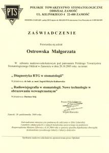 Stomatologia Dentica - Zaświadczenie - Małgorzata Ostrowska