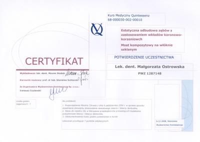 Stomatologia Dentica - Certyfikat Stomatologa