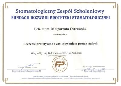 Stomatologia Dentica - Certyfikat SZS