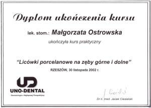 Stomatologia Dentica - Dyplom Ukończenia Kursu