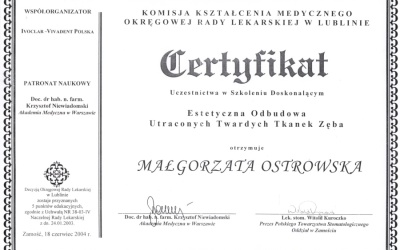 Stomatologia Dentica - Certyfikat - Ostrowska M.