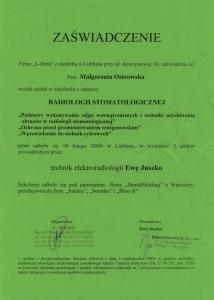 Stomatologia Dentica - Certyfikat Specjalizacji