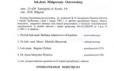 Stomatologia Dentica - List Gratulacyjny