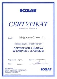 Stomatologia Dentica - Certyfikat - Dezynfekcja i higiena