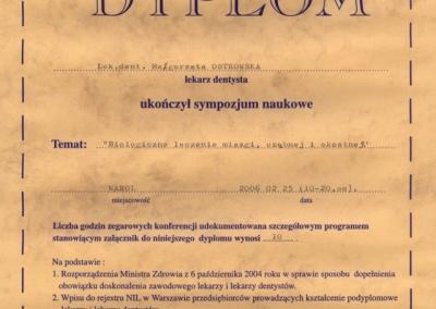 Stomatologia Dentica - Certyfikat - dyplom